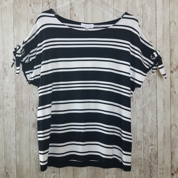 Calvin Klein Tops - Calvin Klein Striped Accent Sleeve Top